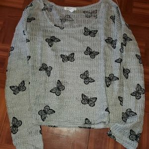 Areopostale Grey and Black Butterfly sweater